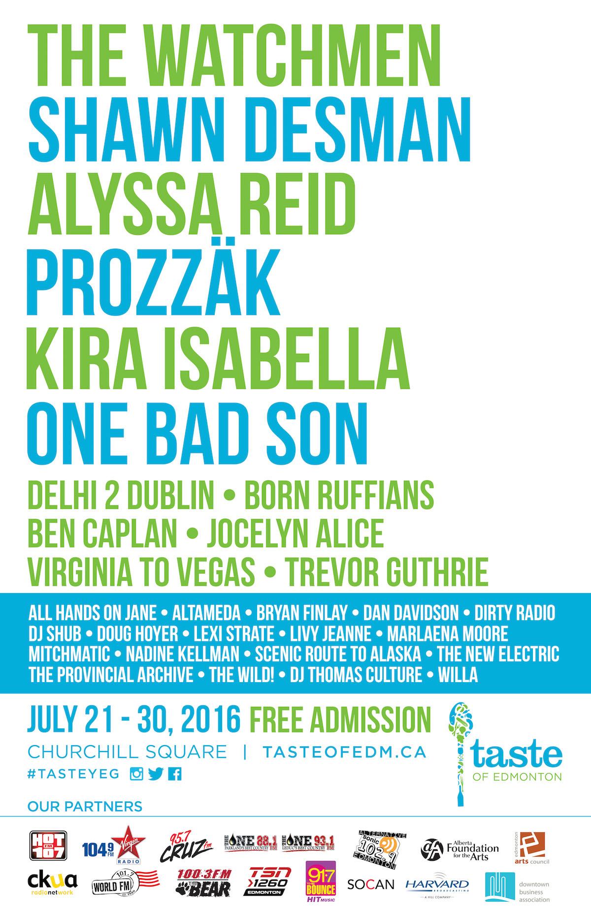 Taste of Edmonton_2016 Entertainment Lineup